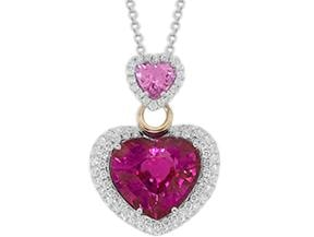 Heart Rubellite And Diamond Pendant Necklace - Jewelry Boston