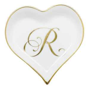 Herend Heart Tray W/ Monogram - Gifts Boston