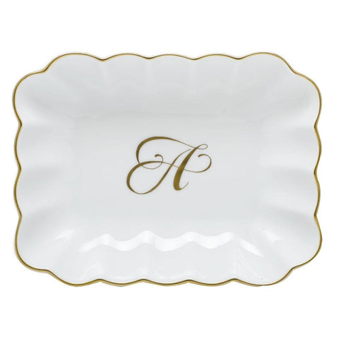 Herend Oblong Tray W/ Monogram - Gifts Boston