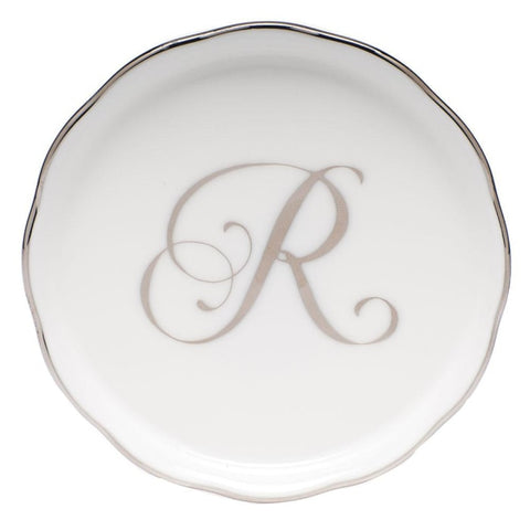 Herend Round Coaster W/ Monogram In Gold Trim - Gifts Boston