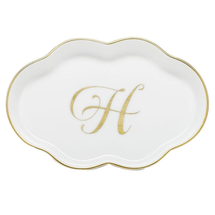 Herend Scalloped Tray W/ Monogram - Gifts Boston