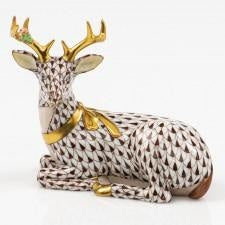 Herend~Lying Christmas Deer-Chocolate - HOME & DECOR Boston