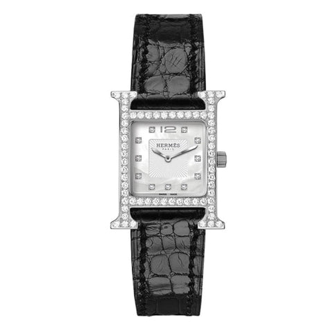 Hermes Heure H Leather With Diamonds 21Mm - Watches Boston