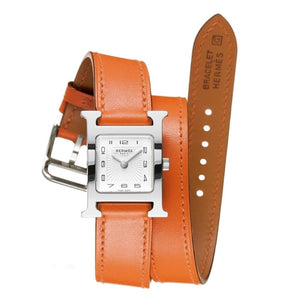 Hermes Heure H Orange Leather Watch - Watches Boston