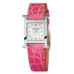 Hermes Heure H Steel Mother Of Pearl Diamond Dial - Watches Boston