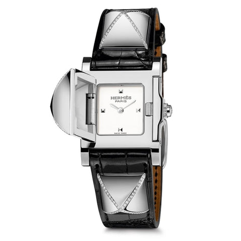 Hermes Medor Steel Silver Dial W/diamond Accents - Watches Boston
