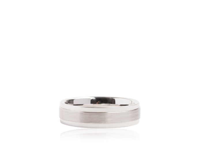 High Polished & Satin Center Wedding Band (White Gold) - JEWELRY Boston