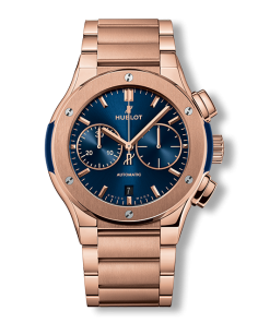 Hublot Classic Fusion Blue Chronograph King Gold Bracelet 45mm (520.OX.7180.OX) - WATCHES Boston
