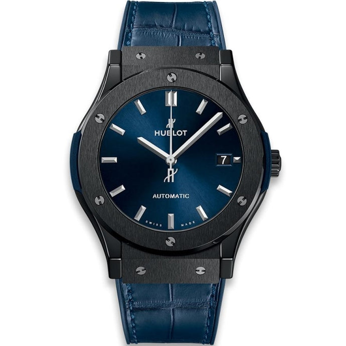 Hublot Classic Fusion Ceramic Blue 45mm Ceramic/Rubber & Leather Strap (511.CM.7170.LR) - WATCHES Boston