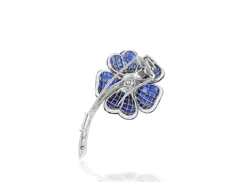 Invisible Set Sapphire And Diamond Flower Pin (Platinum) - Jewelry Boston
