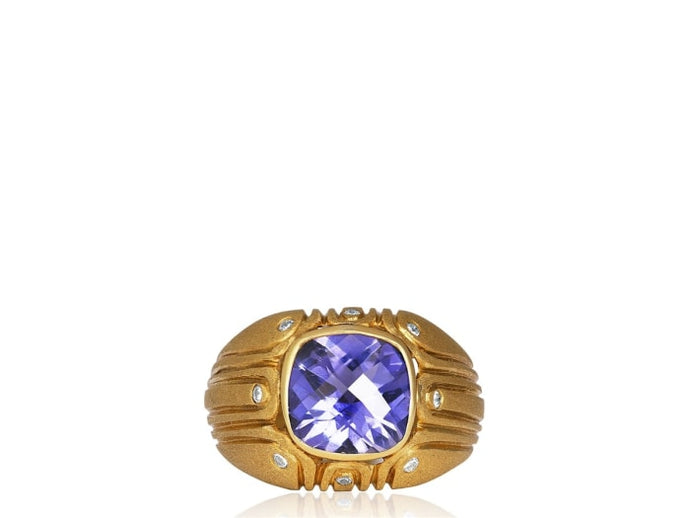 Iolite And Diamond Ring (18K Yellow Gold) - Jewelry Boston