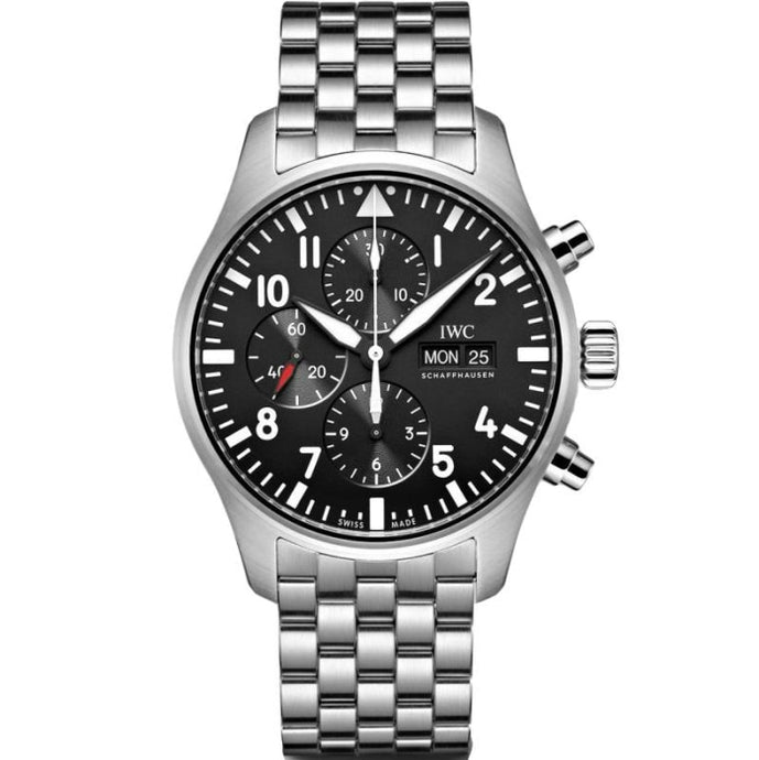 IWC Pilots Chronograph 43mm Steel Black Dial (Ref# IW377710) - WATCHES Boston