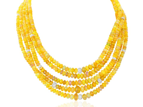 Jelly Opal Bead Diamond Necklace - Jewelry Boston