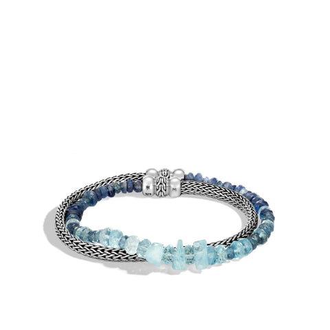 John Hardy~ Classic Chain Double Wrap Silver Aquamarine & Kyanite Bracelet - Jewelry Boston