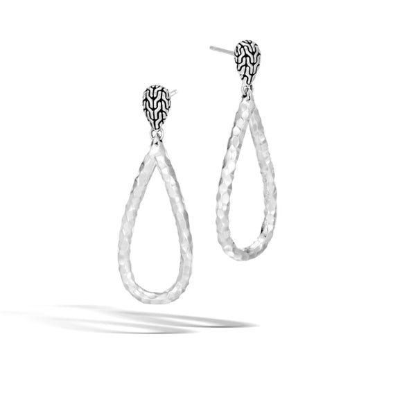 John Hardy~ Classic Chain Hammered Tear Drop Earrings - Jewelry Boston