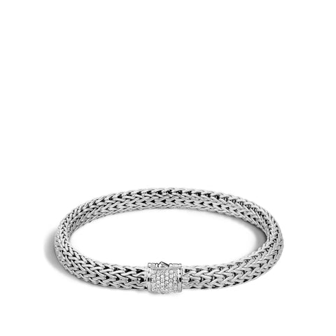 John Hardy~ Classic Chain Sterling Silver Bracelet W/ .16Ctw Pave Diamond - Jewelry Boston