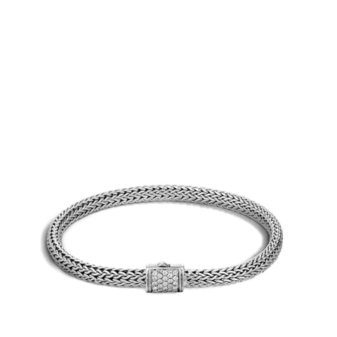 John Hardy~ Classic Chain Sterling Silver Bracelet W/ .18Ctw Pave Diamond - Jewelry Boston