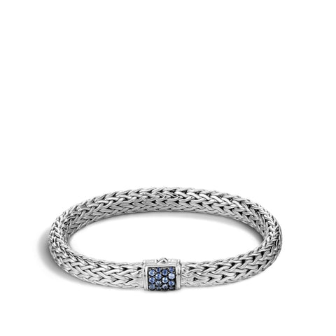 John Hardy~ Classic Chain Sterling Silver Bracelet W/ Blue Sapphire - Jewelry Boston