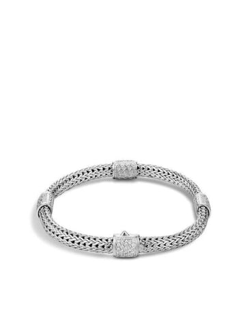 John Hardy~ Classic Chain Sterling Silver Four Station Bracelet W/ .73Ctw Pave Diamond - Jewelry Boston