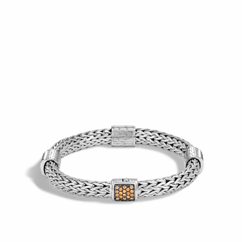 John Hardy~ Classic Chain Sterling Silver Four Station Bracelet W/ Mandarin Garnet - Jewelry Boston