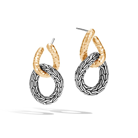 John Hardy~ Classic Chain Two-Tone Double Circle Drop Earrings - Jewelry Boston