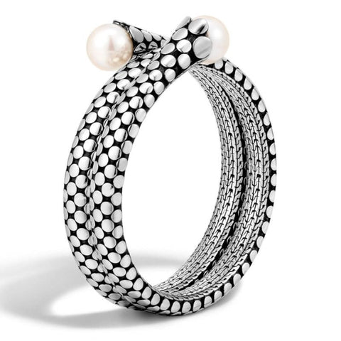 John Hardy~ Dot Sterling Silver Double Coil Bracelet W/ Fresh Water Pearls - Jewelry Boston