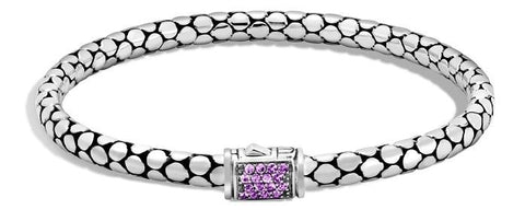 John Hardy~ Dot Sterling Silver Slim Bracelet W/ Amethyst - Jewelry Boston