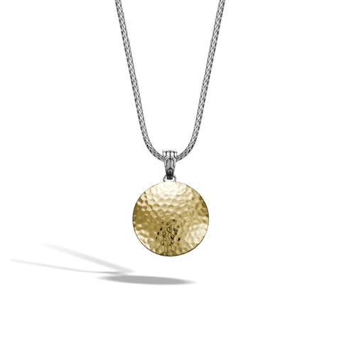 John Hardy~ Dot Two-Tone Medium Round Hammered Enhancer Pendant - Jewelry Boston