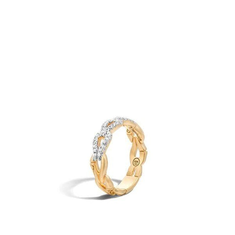 John Hardy~Bamboo Link Ring W/ Diamonds - Jewelry Boston
