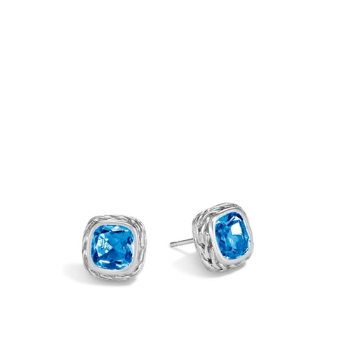 John Hardy~Classic Chain Magic Cut Stud Earring W/ London Blue Topaz - Jewelry Boston
