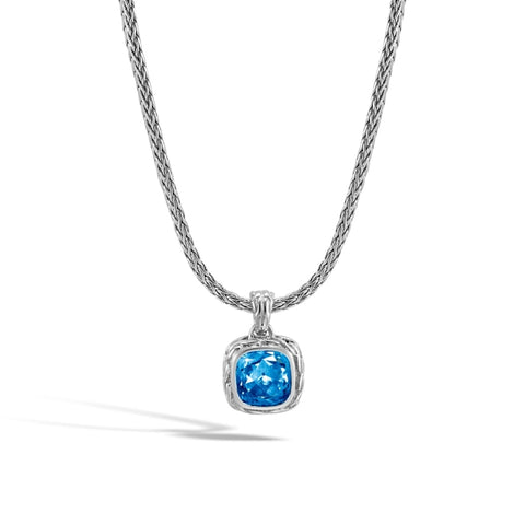 John Hardy~Classic Chain Magic Cut Stud Pendant Necklace W/ London Blue Topaz - Jewelry Boston