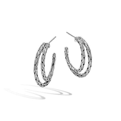 John Hardy~Classic Chain Small Sterling Silver Hoop Earrings - Jewelry Boston