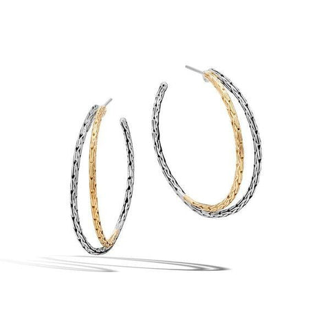 John Hardy~Classic Chain Small Two-Tone Hoop Earrings - Jewelry Boston