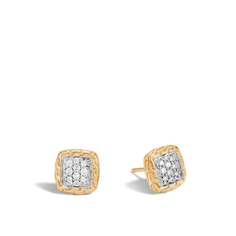 John Hardy~Classic Chain Stud Earrings With Pave Diamonds - Jewelry Boston