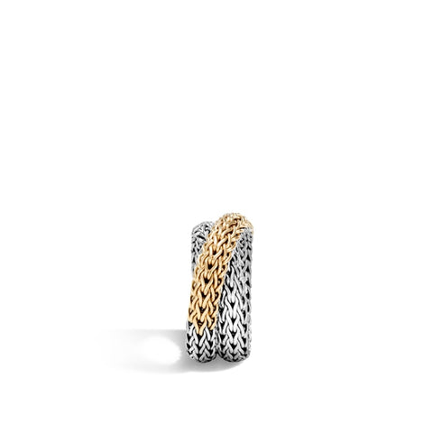 John Hardy~Classic Chain Two-Tone Overlap Ring - Jewelry Boston