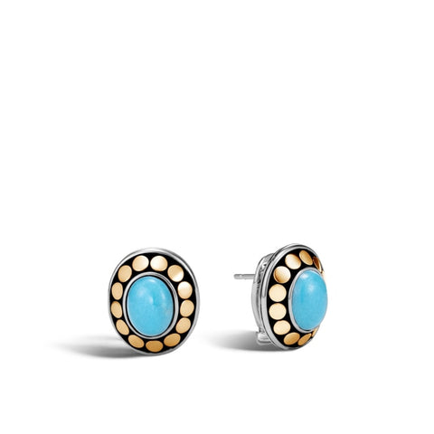 John Hardy~Dot Two-Tone Button Earring W/ Turquoise - Jewelry Boston
