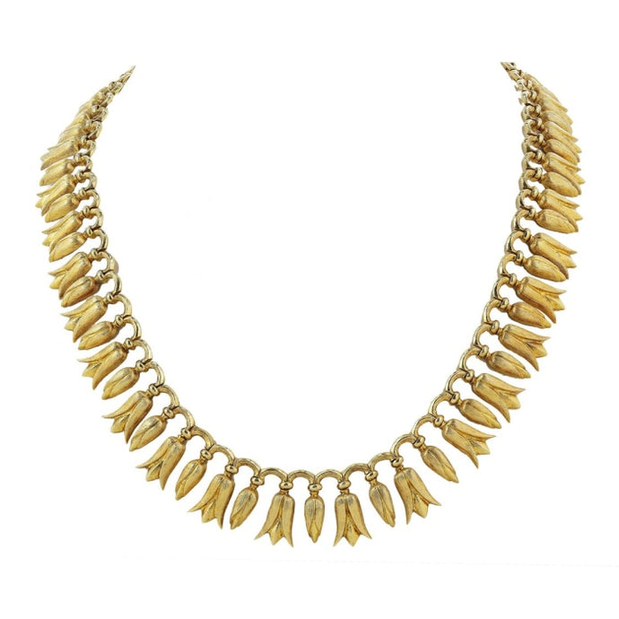 Lalaounis Tulip Design Necklace (14k Yellow Gold) - JEWELRY Boston