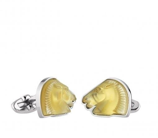 Lalique Cheval Cuff Links In Amber Crystal - Cufflinks Boston