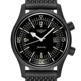 Longines Legend Diver 42mm Black PVD/ Rubber (Ref. L37742509) - WATCHES Boston
