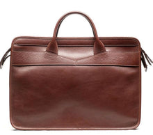 Load image into Gallery viewer, Lotuff Slim Zipper Briefcase In Chestnut - Gifts Boston