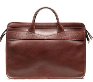 Lotuff Slim Zipper Briefcase In Chestnut - Gifts Boston