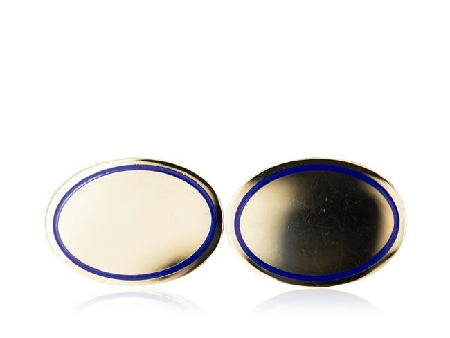 Louis Tamis Gold Oval With Blue Enamel Cuff Links - Cufflinks Boston