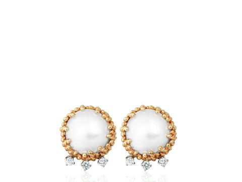 Mabe Pearl & Diamond Clip Earrings (Yellow Gold) - JEWELRY Boston