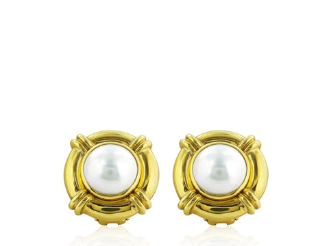Mabe Pearl Gold Clip Earrings - Jewelery Boston