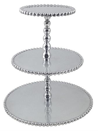 Mariposa~ Pearled 3-Tiered Cupcake Server - Home & Decor Boston