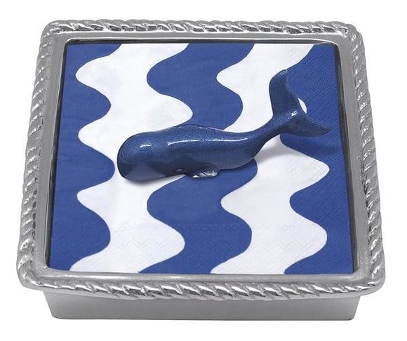 Mariposa~Cobalt Whale Rope Beaded Napkin Box - Home & Decor Boston