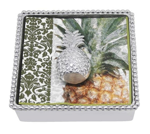 Mariposa~Pineapple Beaded Napkin Box - Home & Decor Boston