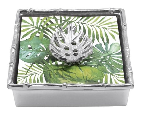 Mariposa~Tropical Leaf Bamboo Napkin Box - HOME & DECOR Boston