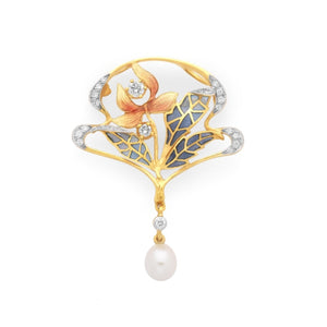Masriera~ Diamond & Pearl Floral Brooch (Yellow Gold) - Jewelry Designers Boston
