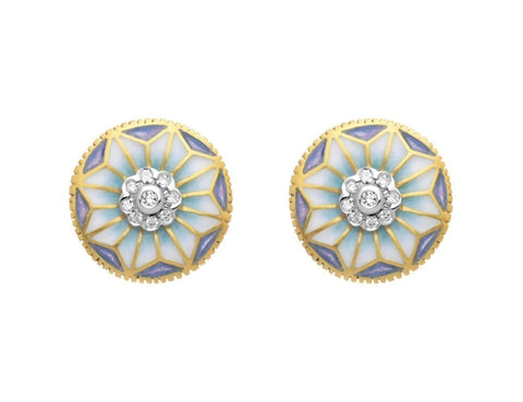 Masriera~ Floral Design Enamel Earrings (18k Yellow Gold) - Jewelry Designers Boston